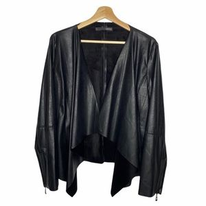 Ness Black Faux Leather Water Fall Jacket Sz L